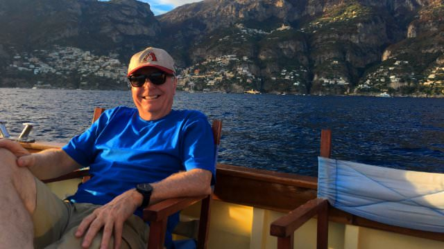 Taking it easy and relaxing on the boat on the Amalfi Coast.