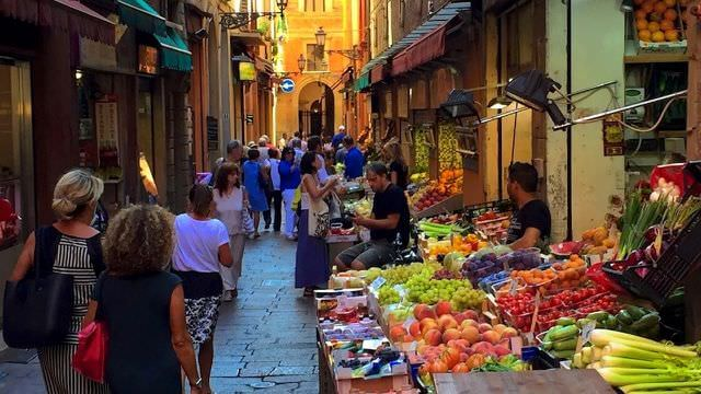 The town Market in Bologna is quite unique. Small streets full of fruit, fish and local food