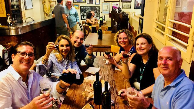 We do everything like locals, we go grocery shopping in town and then sit at the osteria and enjoy some wine.