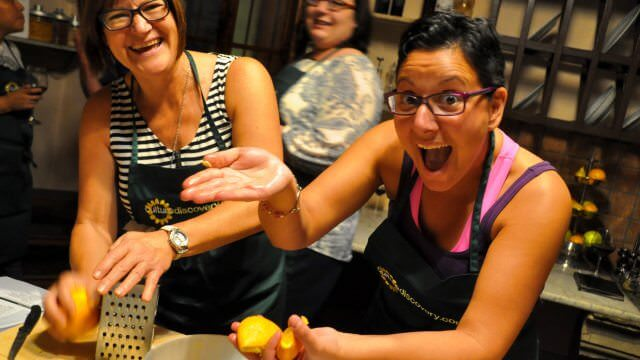 Our hands-on cooking classes are a great opportunity to learn how to make the famous Italian liquor, Limoncello