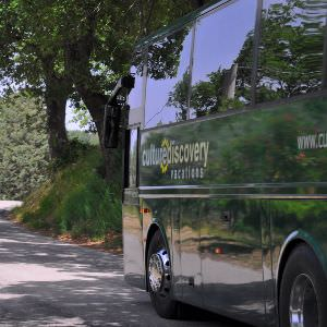 Drive around Italy in extreme comfort in our CDV bus.