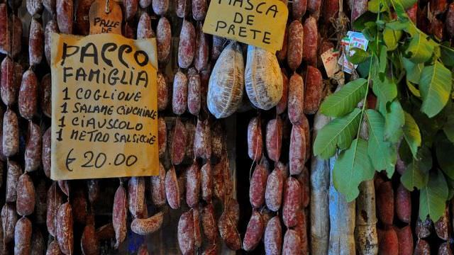 Tons of Sausages and Cold Cuts are everywhere in Norcia where it is centenary tradition make them