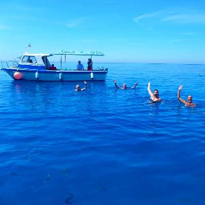 While out on our island cruise in Favignana, Sicily, we drop anchor and enjoy the cool seas to take a nice plunge!