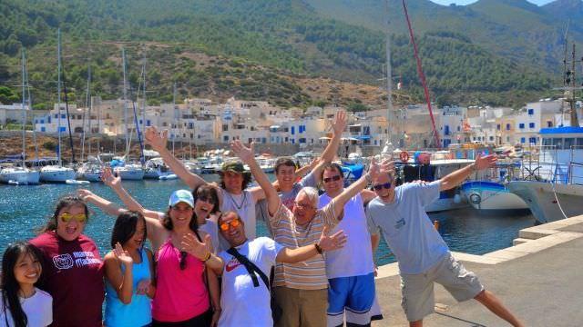 Our guests at the marina in Favignana, Sicily getting ready for their next adventure out on the high seas!