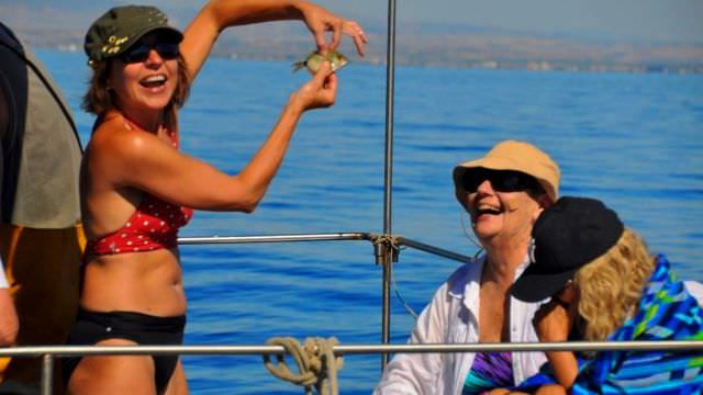 Maita thinks she made a great catch while out on our fishing boats in Favignana. Sadly, she had to return it to the sea