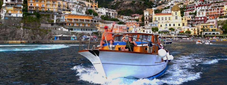 Boating in Positano for our Sunset Prosecco toast