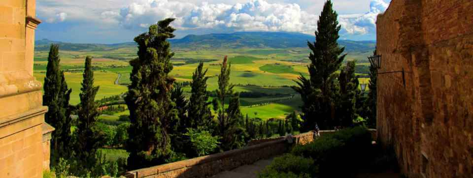 view from pienza tuscany on our italian cooking vacations
